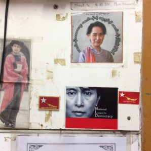 Political slogans on a hostel notice board, Hpa-An, Myanmar, Aug 2015 © Cas Sutherland