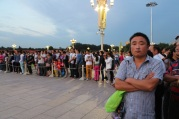 Chinese tourists at the flag raising ceremony, Tiananmen Square, Beijing, Jan 2015 © Cas Sutherland