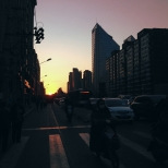 A beautiful sunset going ignored on the streets of Beijing, March 2016 © Cas Sutherland