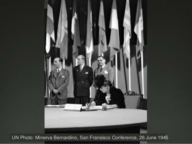 Minerva Bernardino, San Francisco Conference, 26 June 1945